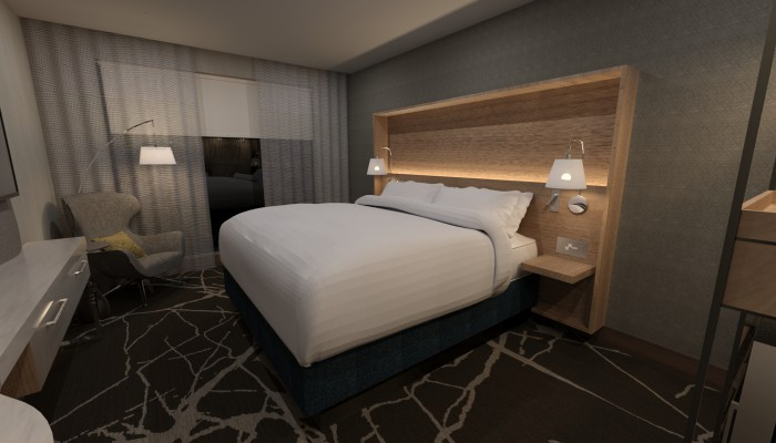 Jacuqard Hotel Cherry Creek Rendering of guest room with king bed, large wooden headboard and contemporary finishes,