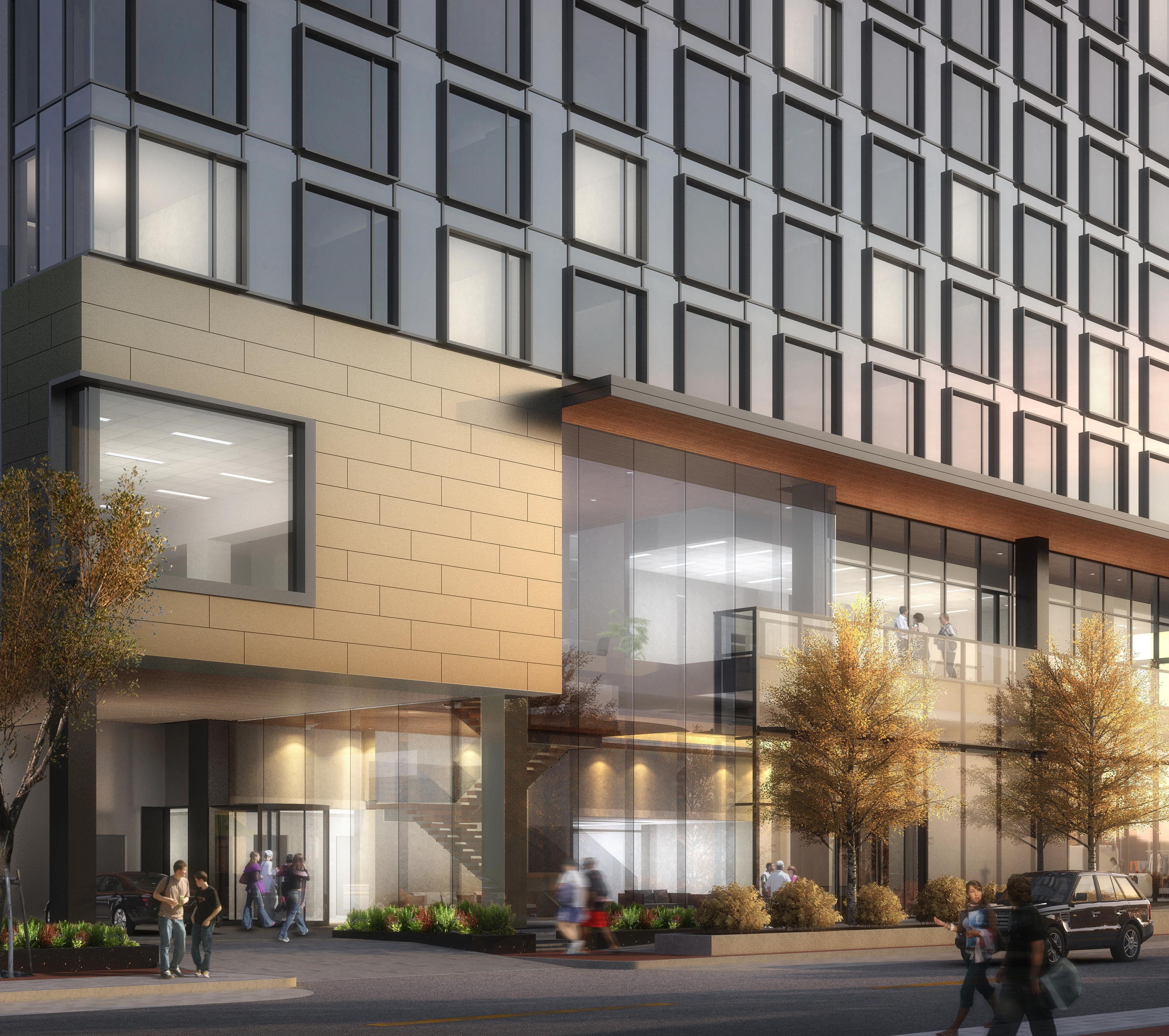 Jacuqard Hotel Cherry Creek Rendering Of Entry At Street Level